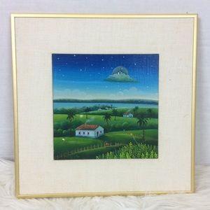 Henry Vitor Untitled Acrylic Painting 1983 Framed